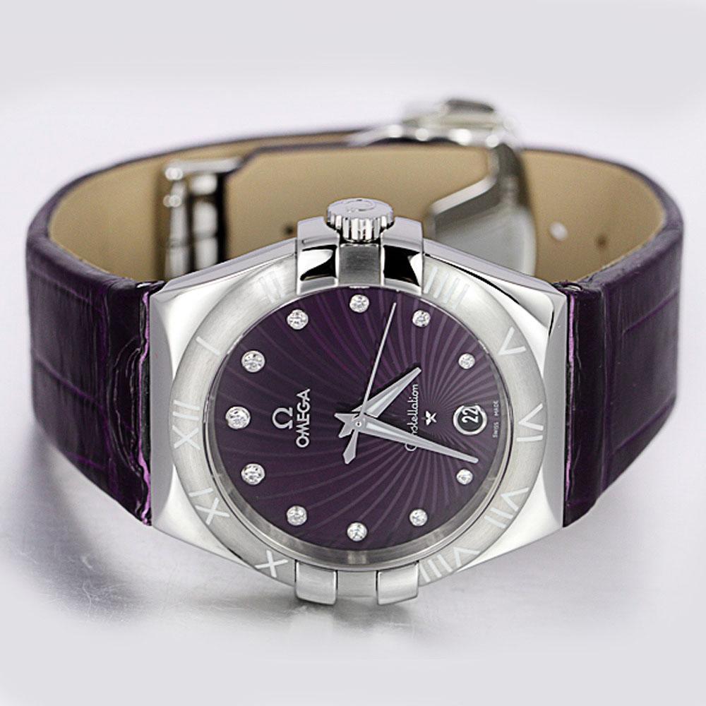 经典时尚 欧米茄星座系列 123.13.35.60.60.001紫色皮带表