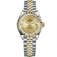 劳力士-女装日志型系列 279173-63343香槟色金色罗马数字 女士机械表