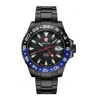瑞士军表SWISS MILITARY-NAVY海军系列 GMT NERO GMT黑色版 2776 GMT双时区防水作业表