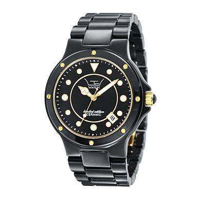 三指针日期显示功能女士黑色腕表