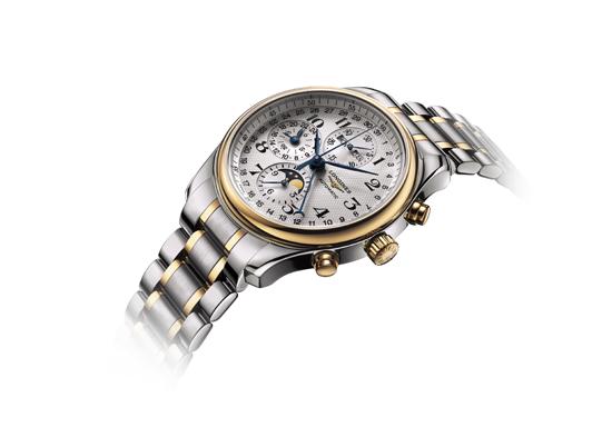 浪琴表名匠系列月相精钢18K金腕表