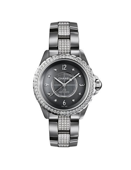 J12 CHROMATIC钛陶瓷腕表,表链镶钻款,33毫米