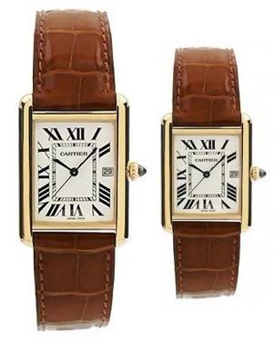 卡地亚Cartier-TANK系列 W1529756/W1529856 情侣石英表