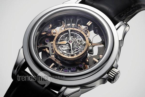 欧米茄镂空陀飞轮同轴铂金限量版手表