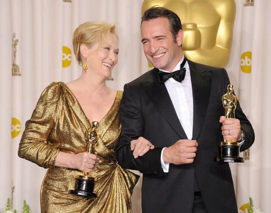 让·杜雅尔丹(Jean Dujardin)梅丽尔·斯特里普(Meryl Streep)合影