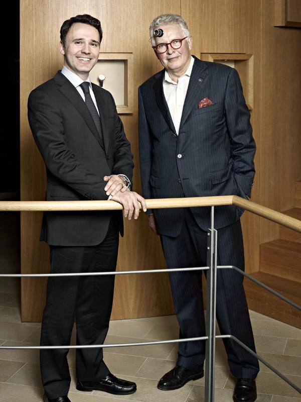 瑞宝表行政总裁 Oliver Ebstein(左) 瑞宝创始人Gerd-Rudiger Lang(右)