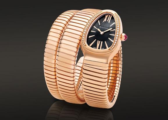 宝格丽SERPENTI系列石英腕表,18kt玫瑰金表壳,镶嵌圆形明亮式切割钻石