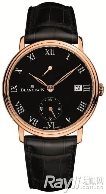Blancpain宝珀8天长动力显示腕表,黑色珐琅表盘(18K玫瑰金版)