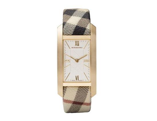巴宝莉女士经典格纹矩形表盘奢华手表,售价395美元。