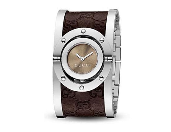 """古驰""""Twirl""""系列宽版翻转不锈钢奢华腕表,售价895美元。"""