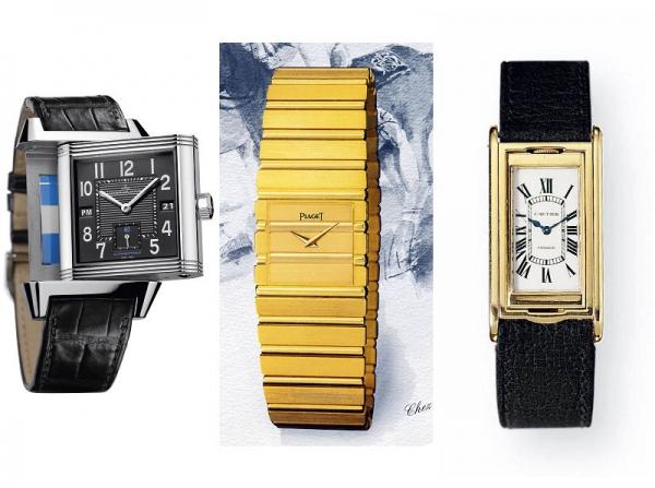 从左至右:积家Reverso腕表;伯爵Polo腕表;卡地亚Tank