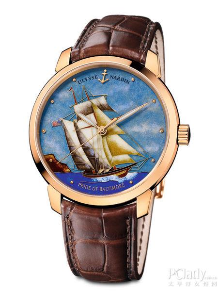 雅典表全新「巴尔的摩的骄傲」鎏金珐琅彩绘表