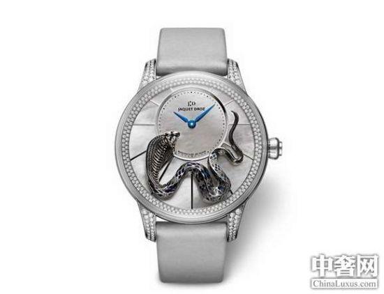 雅克德罗金雕灵蛇小针盘腕表