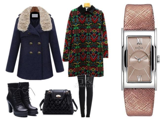 春节女士相亲搭配之性感妩媚型:迪沃斯石英表+印花连衣裙+毛呢大衣+高跟靴
