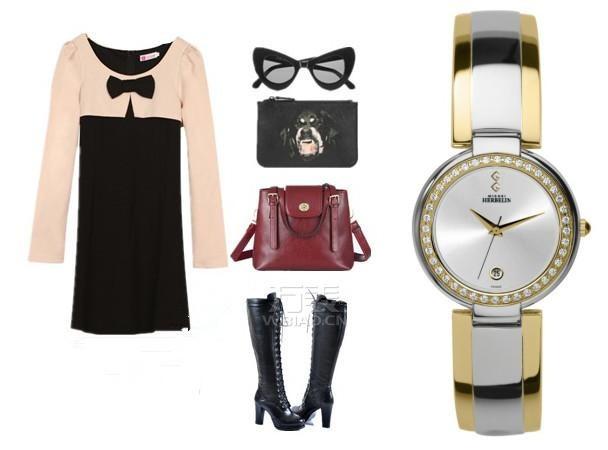 女士时装表如何佩戴?赫柏林手镯表+淑女风连衣裙