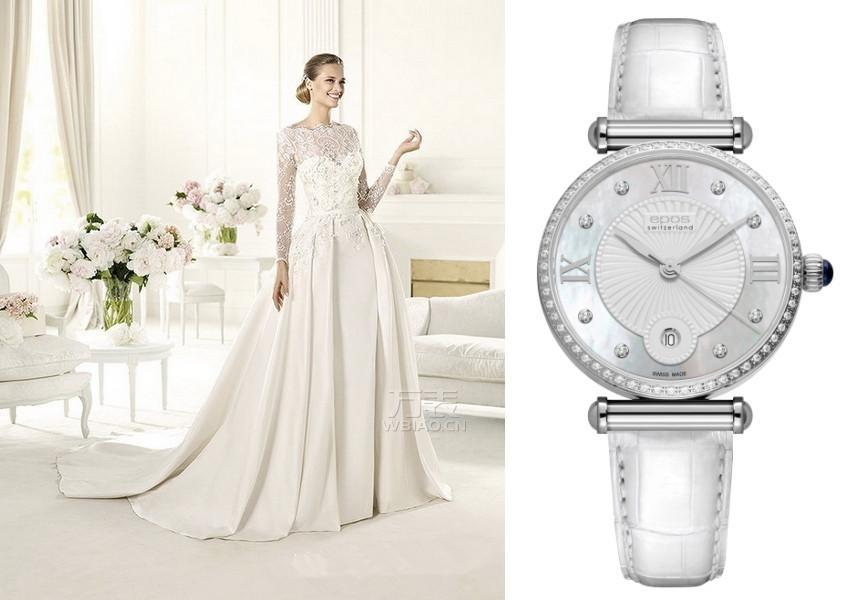 奢华手表配绝美婚纱:传统柔美风格