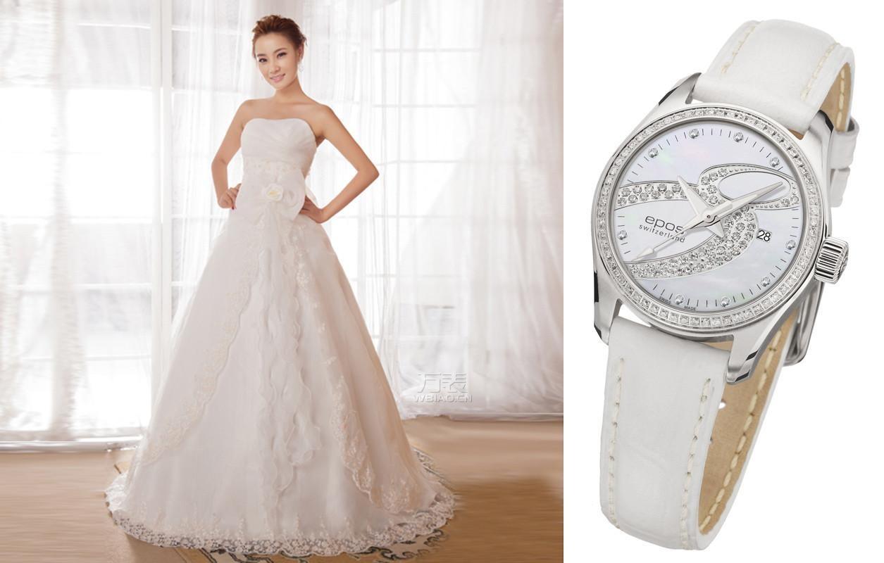 奢华手表配绝美婚纱:甜美公主风格