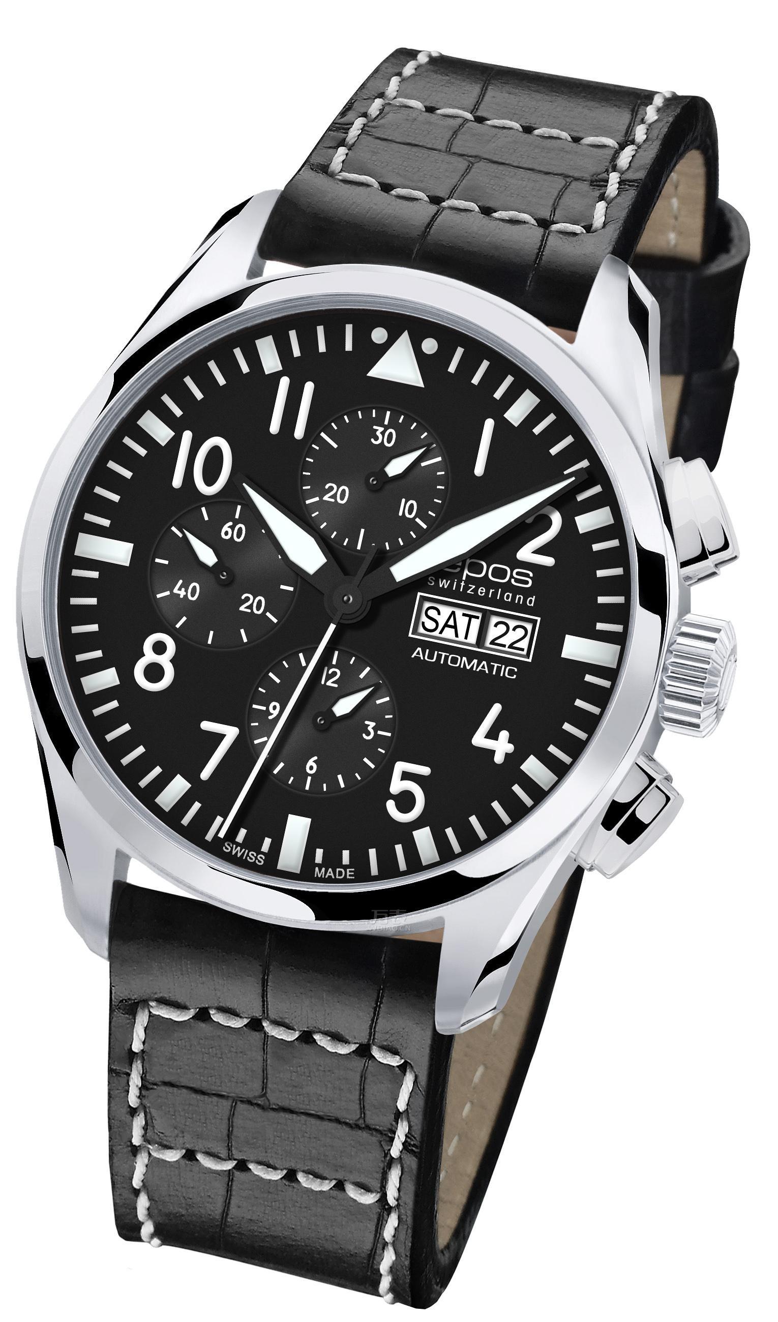 正装风格计时腕表表款二:瑞士爱宝时3406.228.20.35.24 男士机械表