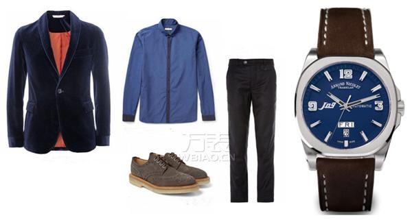 蓝色男士手表西装搭配:艾美达蓝色机械表&法兰绒西装