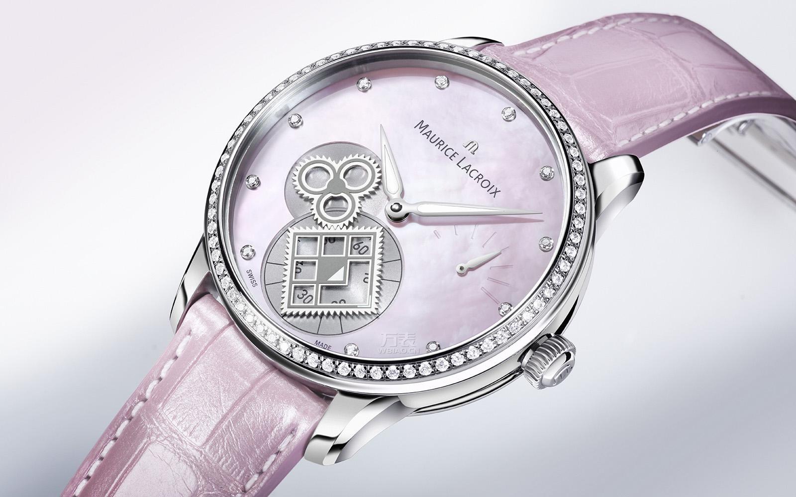 艾美出匠心系列方轮粉红贝母腕表