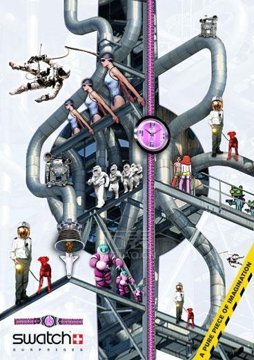 斯沃琪手表广告视觉享受多彩生活,感悟创意人生