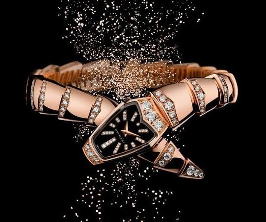 宝格丽Serpenti系列高级珠宝腕表–玫瑰金黑色亮漆表盘款