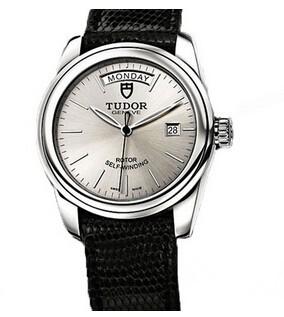 帝舵星期日历型系列56000-银盘黑色蜥蜴皮表带腕表