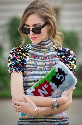 "Chiara Ferragni身穿针织亮片印花裙,优雅迷人的姿态,同样可以搭配经典时髦的劳力士""水鬼""。"