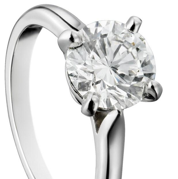 卡地亚Solitaire 1895订婚钻戒,铂金,镶嵌圆形明亮式切割钻石