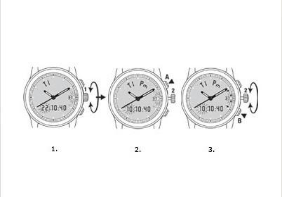 万宝龙运动系列石英机芯手表时间、设定日期、月份和年份设置方法