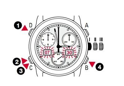 天梭带闹铃的计时腕表时间、月份、日期和闹铃的设置方法