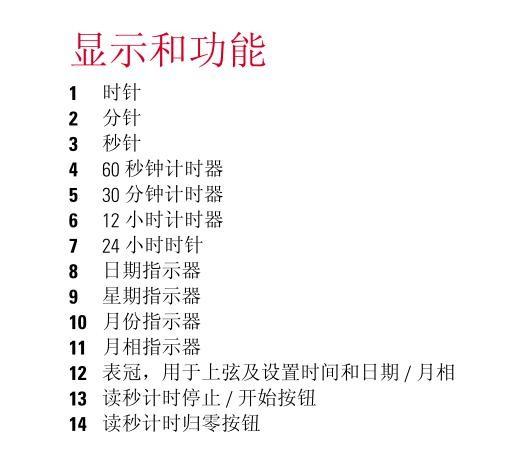美度 Baroncelli 自动计时码表(月相显示)调校方法