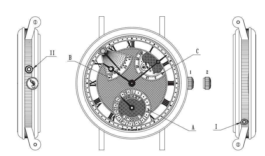 宝玑腕表型号3137BA/11/986时间和日期调校方法