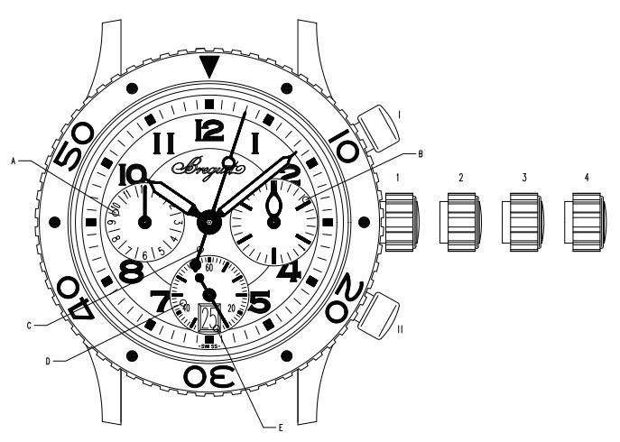 宝玑腕表型号4820ST/D2/S76 的时间和日期调校方法