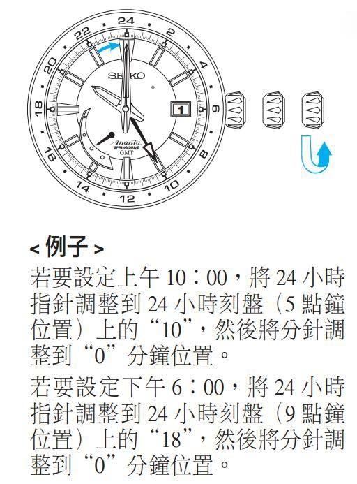 精工5R66/5R67(Spring Drive机芯)时间设定方法一