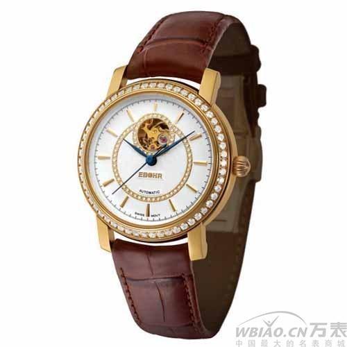 依波表 瑧典系列专柜18K黄金手表 镂空皮带自动机械女表