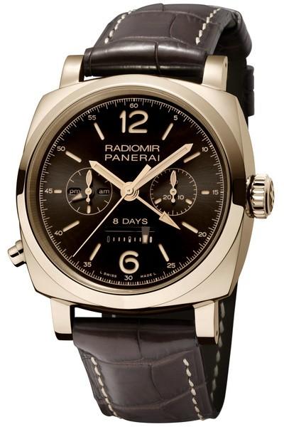 沛纳海8日动力储存两地时间单按把计时红金腕表