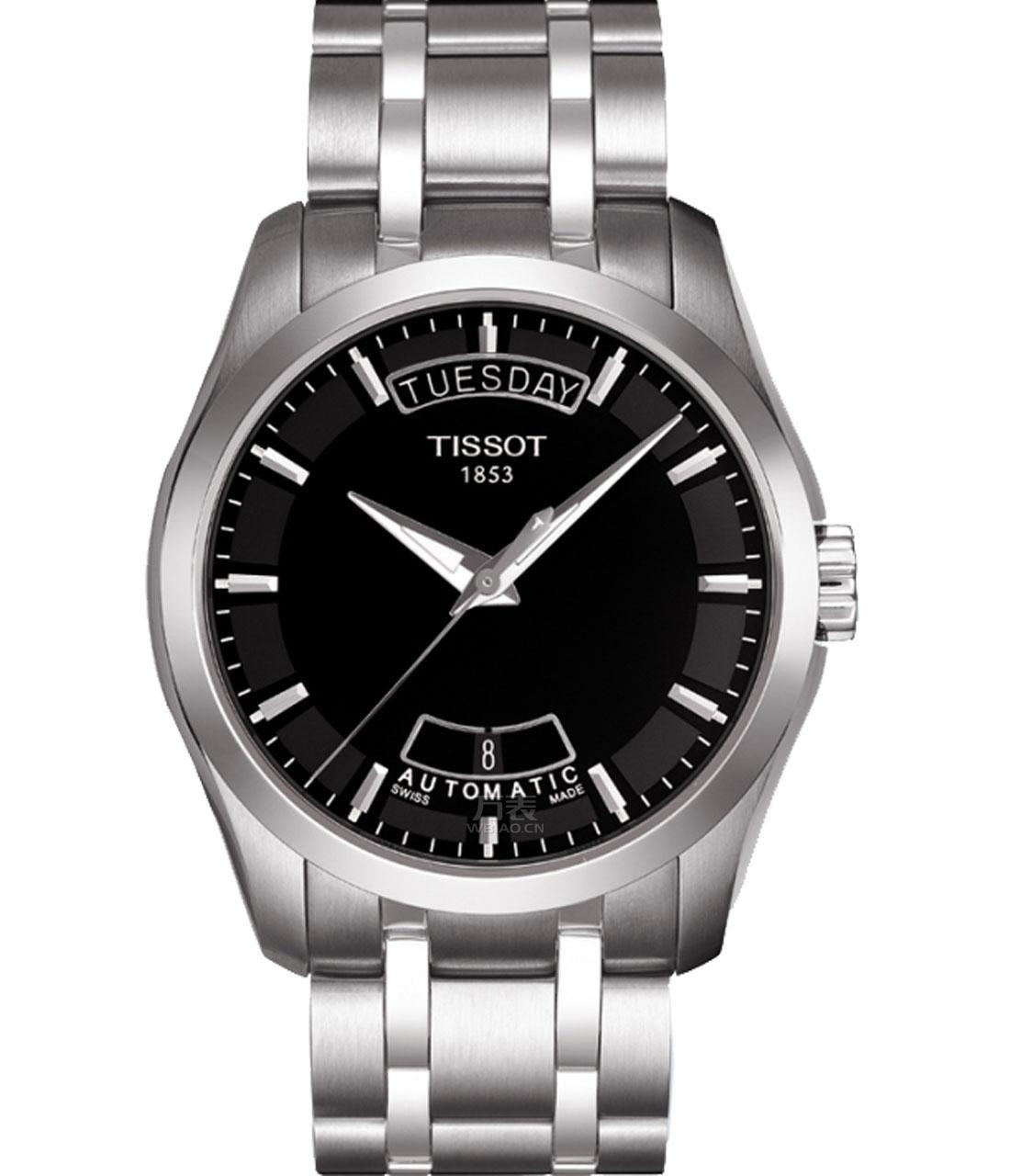 天梭-库图系列 T035.407.11.051.00 夜光手表图