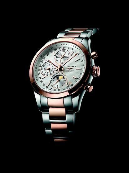 浪琴表康铂系列精钢玫瑰金月相计时腕表