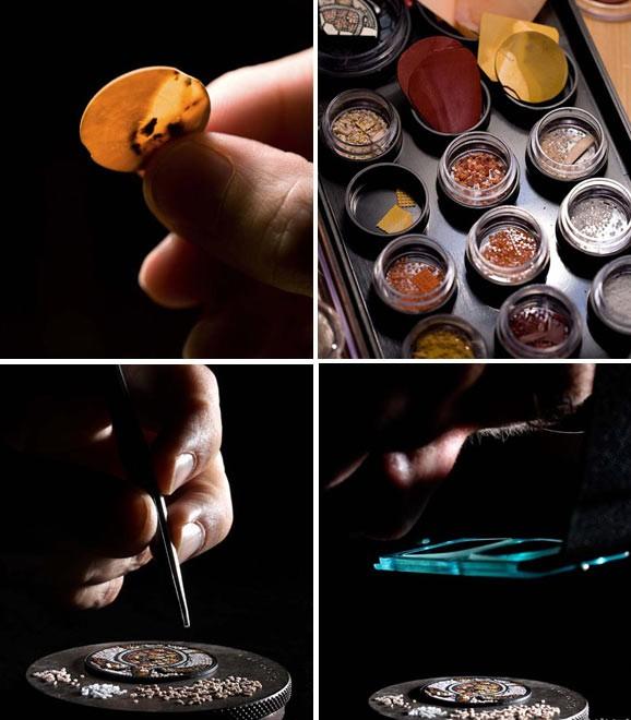 工艺大师将天然宝石打磨成厚度为0.4 毫米的薄片