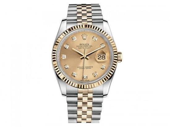 劳力士日志型系列 116233香槟盘镶钻腕表