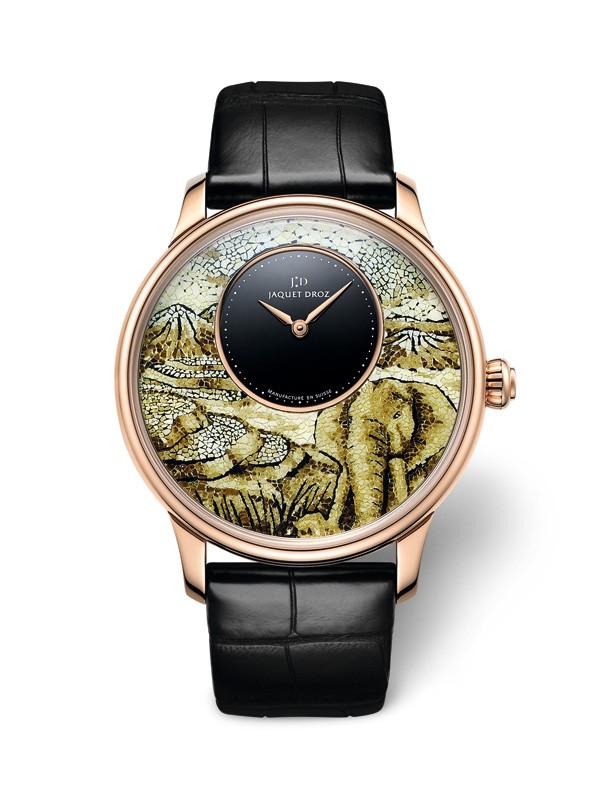 雅克德罗推出拼镶大象时分小针盘腕表