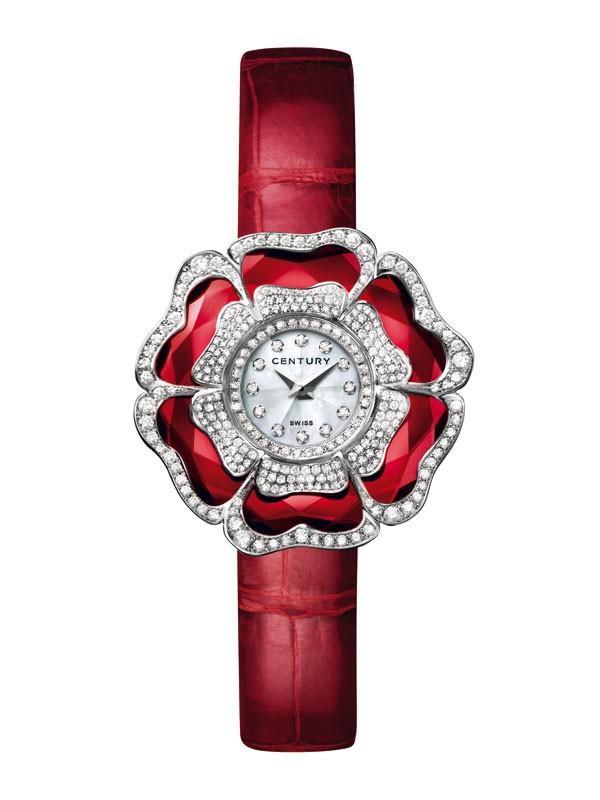 世纪表Leela Blossom系列18K白金镶钻蓝宝石腕表 绽放永恒之美