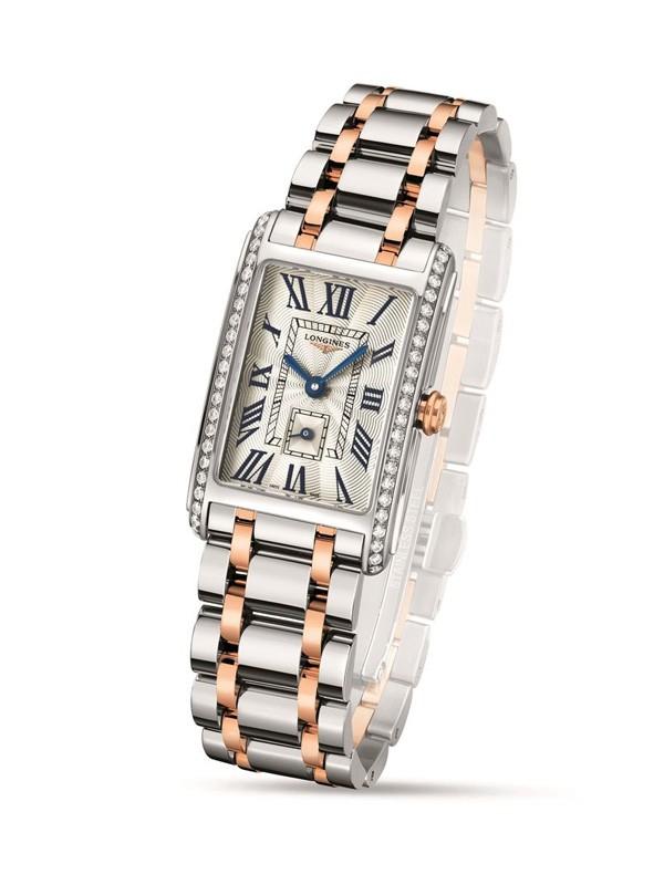 浪琴表全新黛绰维纳系列双色金镶钻腕表