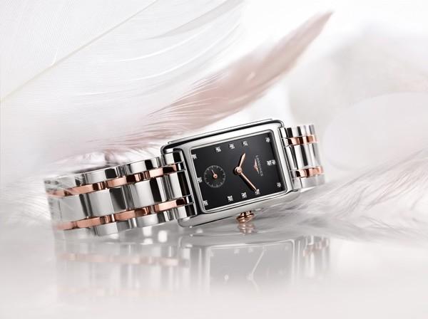浪琴表黛绰维纳系列精钢玫瑰金钻石腕表