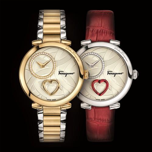 表达爱意的完美配饰——Cuore Ferragamo心形装置镀金腕表