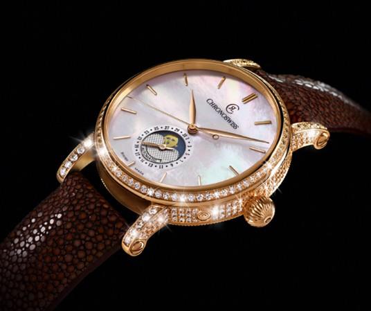 钻石 珍珠是大势!瑞宝新版天狼星月相腕表