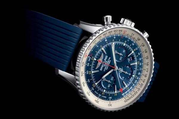 百年灵全新航空计时世界时间极光蓝腕表