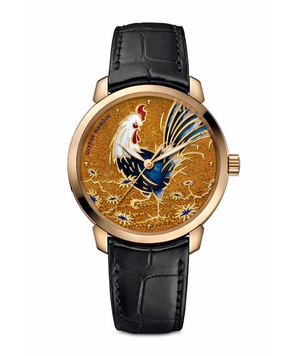 【图】雅典表全球限量发行88枚的「鎏金金鸡腕表」